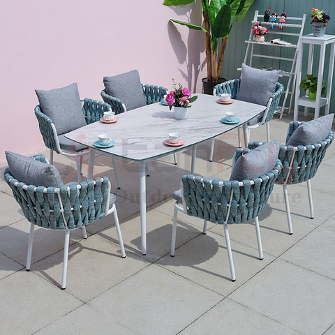 Wholesale outdoor french bistro rope dining chair aluminum coffee table