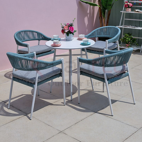 fashion design outdoor rope furniture woven restaurant chair and table