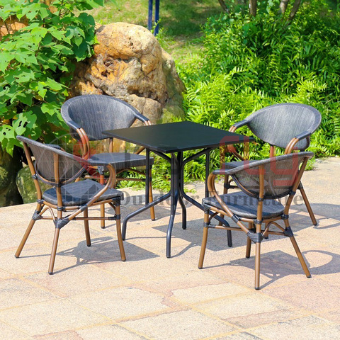 garden durable black conversation coffee table furniture cafe shop