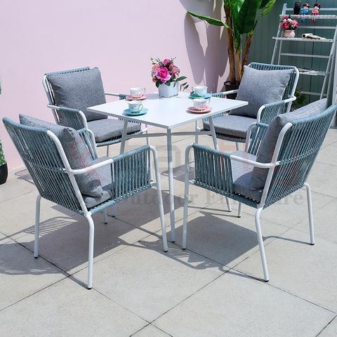 ghế ăn dây nóng bán và bàn ăn nhôm vuông