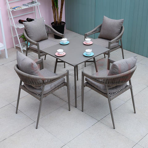 modern new Patio garden rope seating chair with aluminum table pictures & photos
