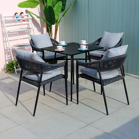 modern new Patio garden rope seating chair with aluminum table
