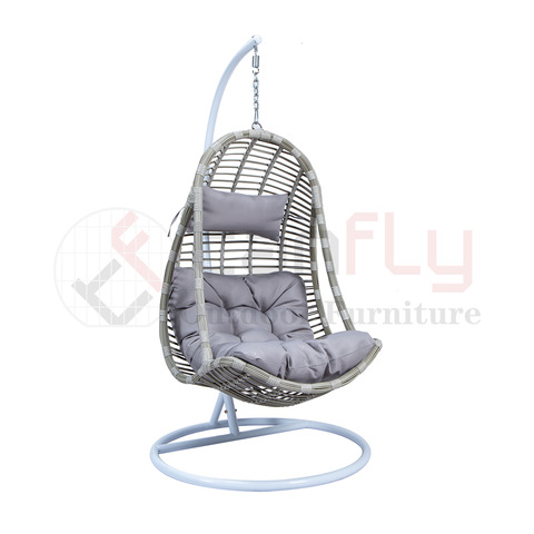 rattan outdoor furniture single seater garden swing chair with armrest