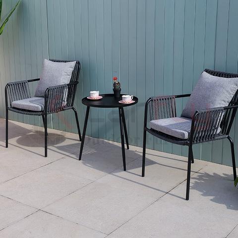 सरल डिजाइन आरामदायक बातचीत फर्नीचर रस्सी कॉफी कुर्सी आउटडोर चित्र और तस्वीरें