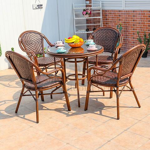 जलरोधक मैदानी विकर कॉफी फर्निचर रतन खुर्च्या आणि टेबल गार्डनची चित्रे आणि फोटो