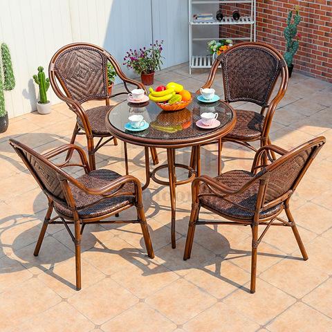 Muebles de café de mimbre al aire libre a prueba de agua sillas de ratán y mesa de jardín