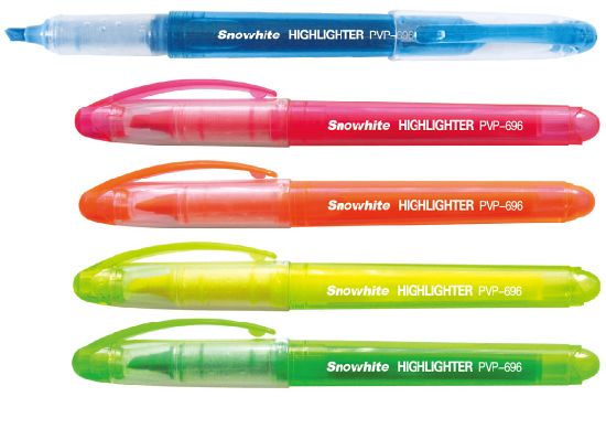 China Customized Logo Liquid Ink Highlighter Pen Pvp696 with 5 Colors Assorted