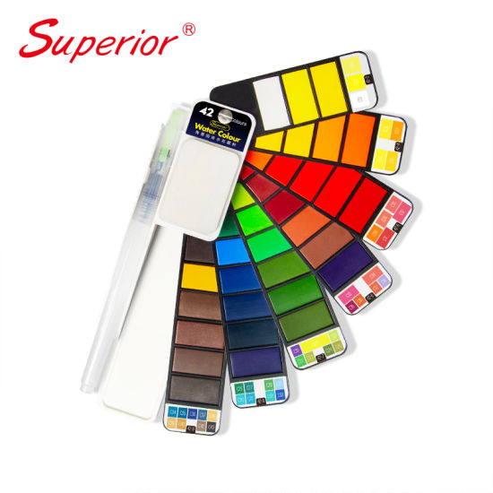 China Superior 42 Colors Fan Shaped Solid Water Color for Drawing