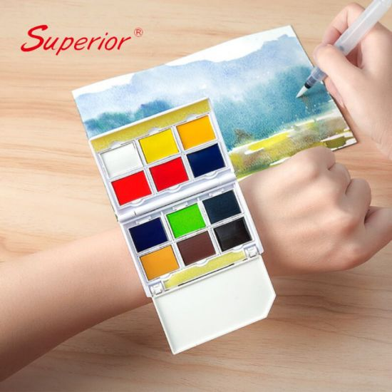 China Superior New Designed Watch Style Art Solid Water Color Painting Set for Drawing