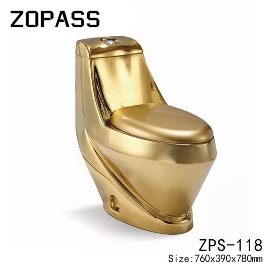 China Factory Golden Bathroom Wc One Piece Washdown Ceramic Gold Plated Toilet Bowl Toilet From China On Topchinasupplier Com