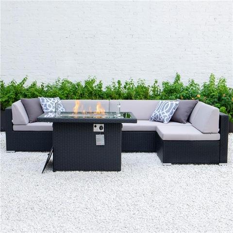 ערכת גן ריהוט גן לספה חיצונית פאטיו Alumimun עם שולחן אש