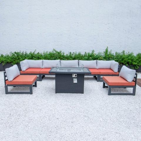 ספה חיצונית לפטיו ריהוט חוץ שולחן בור אש עם סט גינה