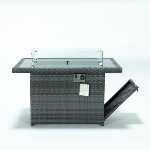 Bahçe hasır ateş çukuru masası, cam çit rüzgar koruma açık gaz ateş çukuru masası