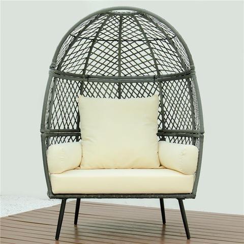 ריהוט גן חיצוני מסגרת ברזל קש כיסא נצרים נוח מושב יחיד