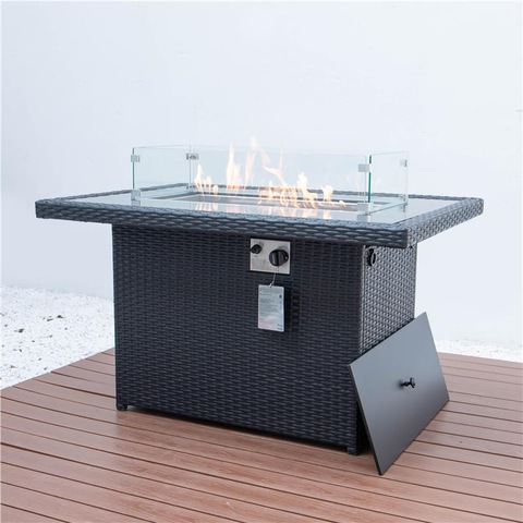 Patio Garden yangaphandle Aluminium Rattan zomlilo Ifanitshala Gas Fire Pit Table