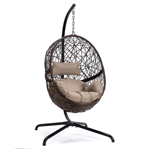 Patio N'èzí Swing egg Wicker Hanging Chair na Guzosie