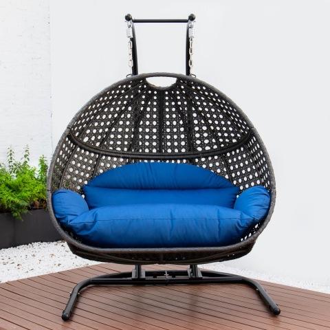 כסא נדנדה תלוי פרימיום כיסא ביצת פטיו כפול