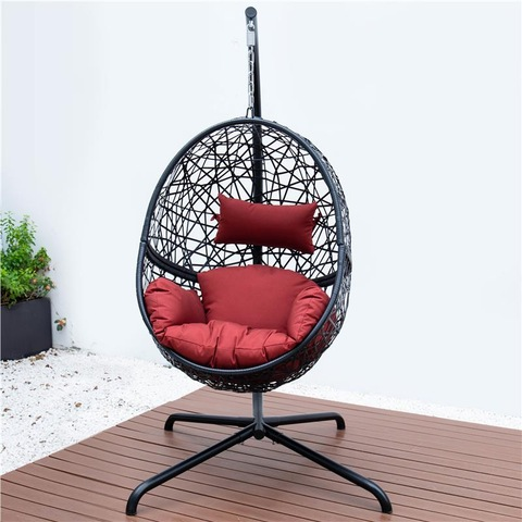 Premium Outdoor Hanging Rattan Egg Chair Leisure Wicker Patio Swing Chair
