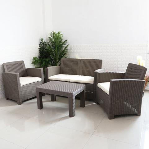 4 件户外家具庭院藤条沙发柳条沙发套装