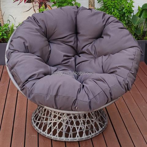 כיסא פפסאן מסתובב בגינה עם כיסא פפסן מסוג ראטן 360 מעלות עם כרית