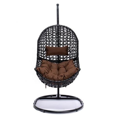 热销户外家具花园藤条柳条悬挂露台秋千鸡蛋椅