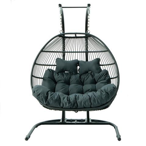 热卖户外阳台露台藤条挂蛋椅吊床秋千椅带支架