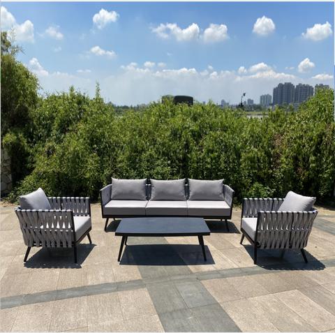 Luksusowy hotel Resort willa lina meble ogrodowe Wypoczynek Aluminiowy rattan wiklinowy ogród Sofa meble ogrodowe Sofa leżak