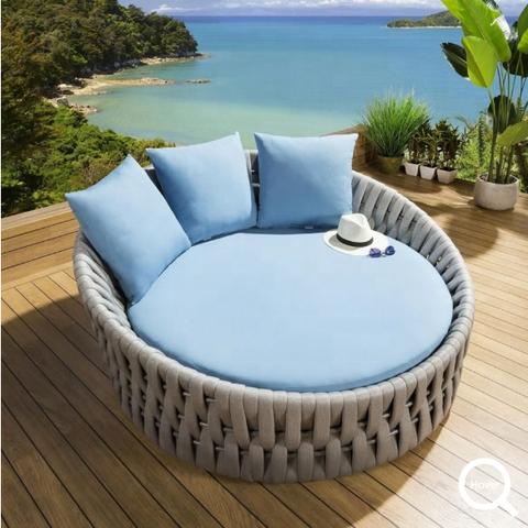 豪华躺椅金属沙滩躺椅皇家绳索躺椅铝制太阳椅酒店度假村泳池椅户外休闲家具图片和照片
