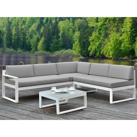 Новый дизайн для отдыха в патио, в саду, белый алюминиевый диван, набор для отдыха на открытом воздухе