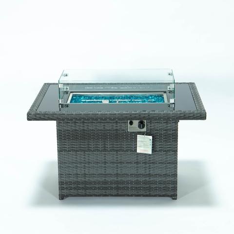 露台花园矩形火坑桌藤制壁炉家具煤气火坑桌