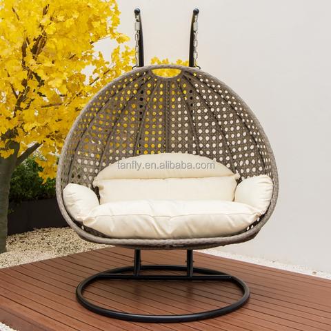 天井户外双人座花园家具藤条天井秋千挂蛋椅带支架