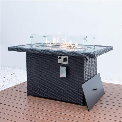 מלבן חיצוני שולחן בורות אש גז ראטן אח ערכת שולחן אש
