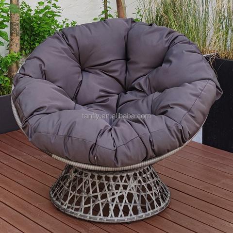旋转 Papasan 椅 360 度藤制 Papasan 椅带垫