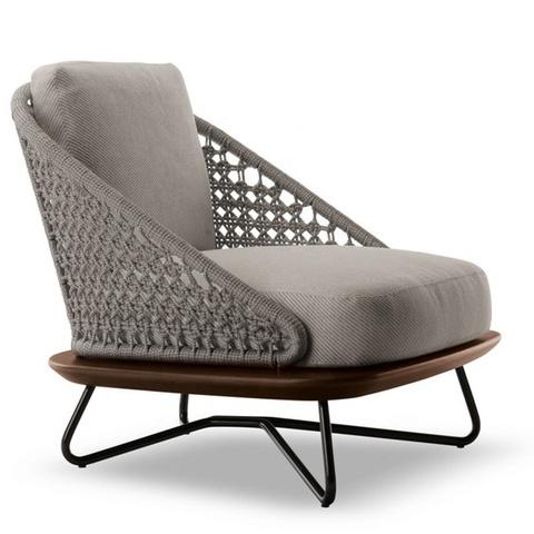 Typowa śródziemnomorska aluminiowa sofa Patio, dwuosobowa sofa i fotele z podstawą Merbau z osłoną strukturalną z plecionego polipropylenu