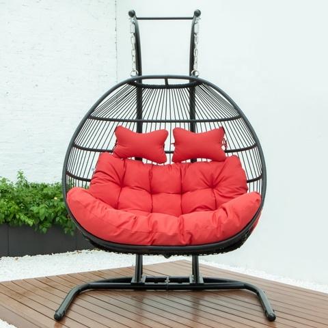 批发室内户外庭院藤条柳条挂蛋秋千椅带金属支架图片和照片
