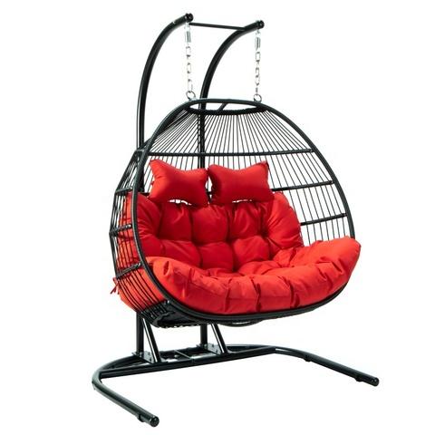 wyprzedaż kryty odkryty patio rattanowe wiklinowe wiszące krzesło obrotowe jajko z metalowym stojakiem!