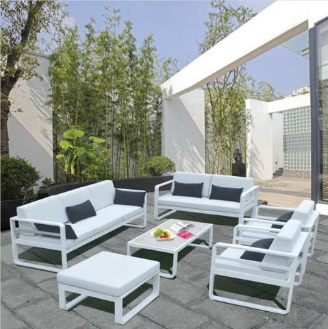 Hurtownia detaliczna 6 sztuk Najnowsze meble wypoczynkowe Nowy projekt Wypoczynek Sposoby Patio ogród biały aluminiowy zestaw sof na zewnątrz!